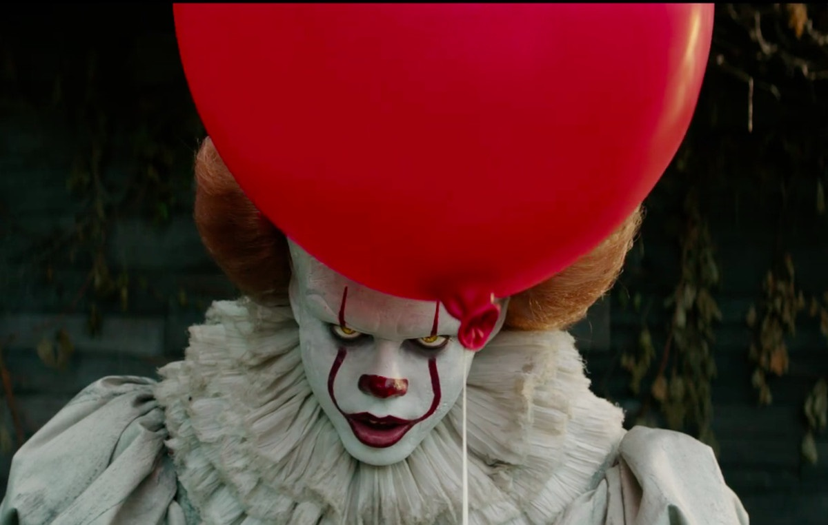 Pennywise the Clown stares down Eddie Kaspbrak in the new IT movie.