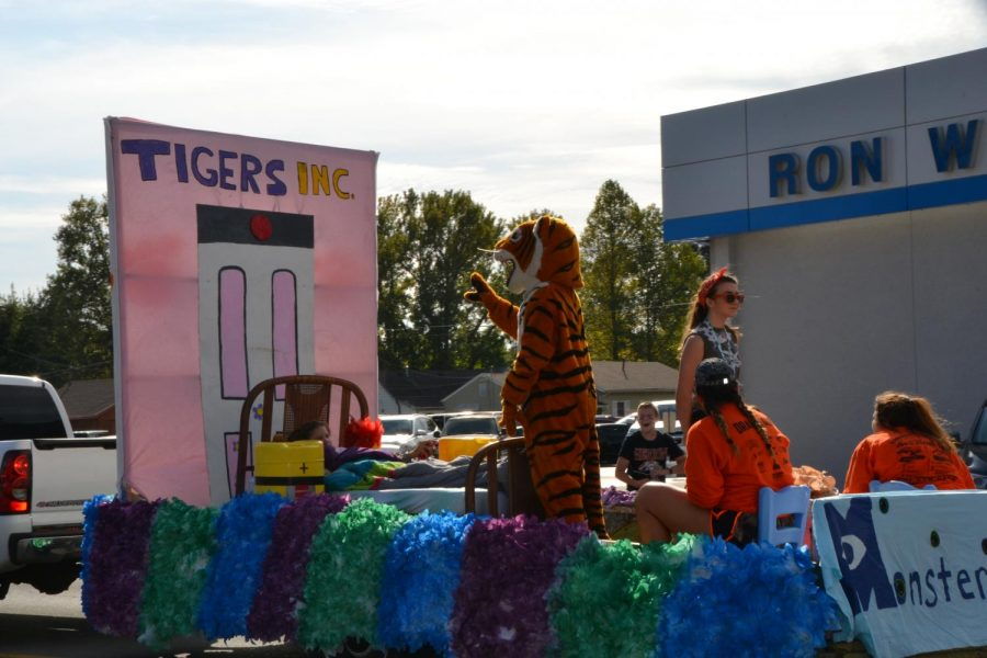 Scaring away the competition, the sophomores choose a Monsters Inc. theme for their class float.