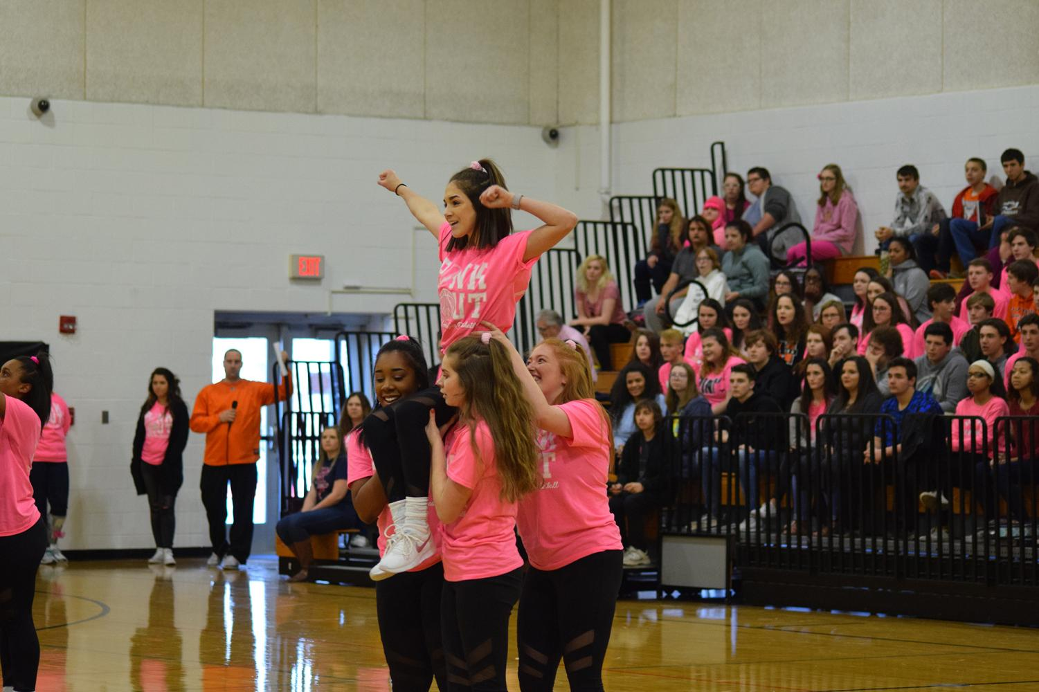 Makay+Russell+%289%29+gives+it+her+all+at+the+Pink+Out+pep+rally.+