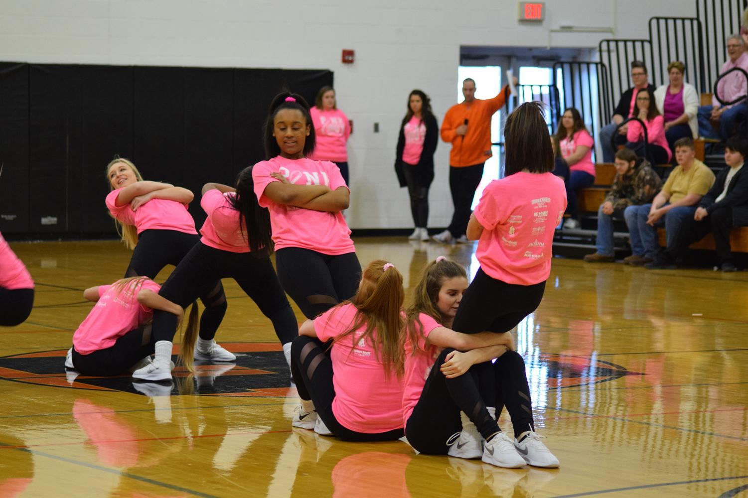 The+Herrin+High+dance+team+performs+during+the+pep+rally.+