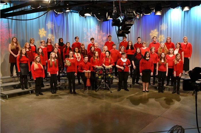 The Herrin High School choir during their WSIL taping this past Christmas season.