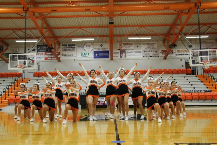 Cheerleaders start the 1st day pep rally with a powerful force to get the energy up!