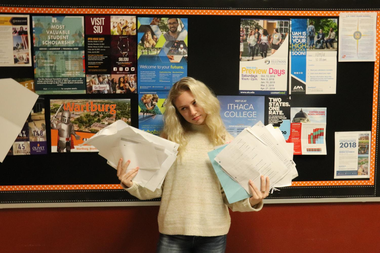 Ashlyn Baldi stresses over the massive amounts of college scholarship and entrance forms.
