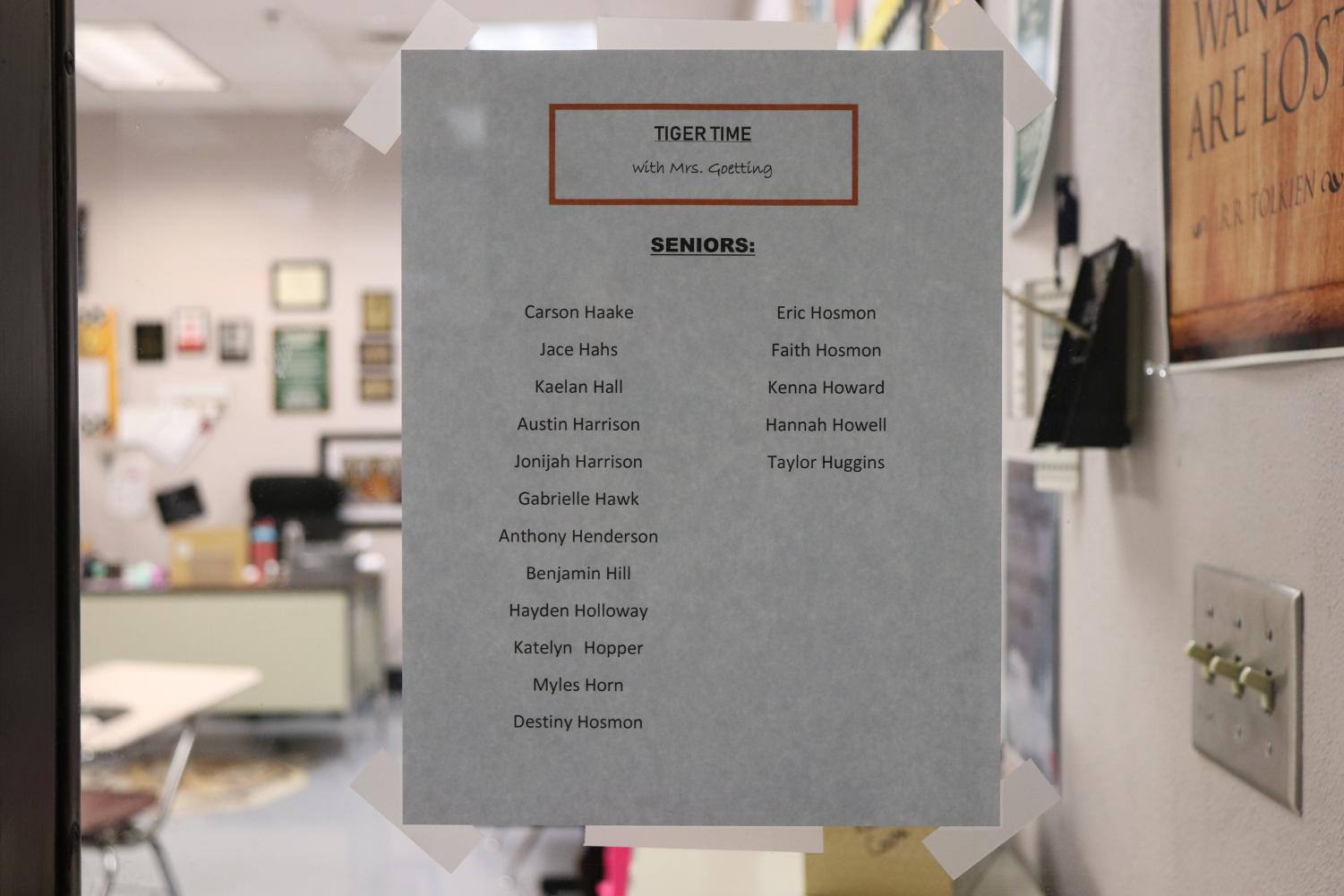 Each teacher has a list of their Tiger Time students posted on their door.