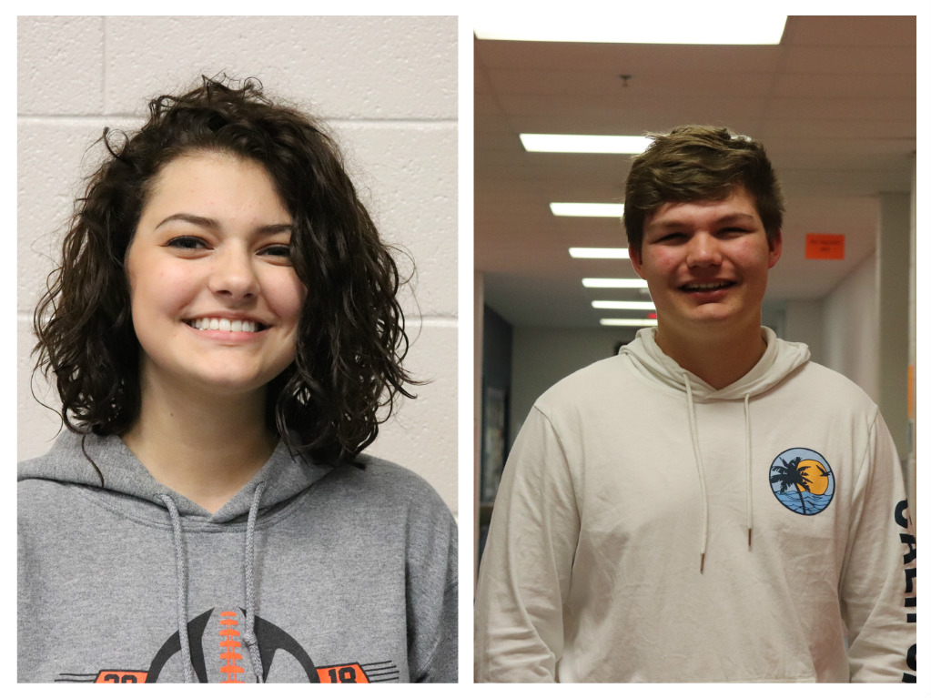 The November students of the month, Kagney Zimmer (12) and Mitchell Brandon (10).