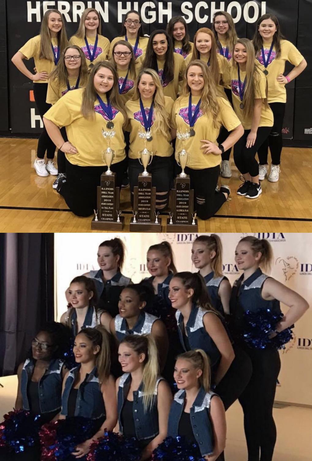 The flag team (above) shows off their brand new trophies from state.  The dance team (below) prepares for their pom performance at the state competition.