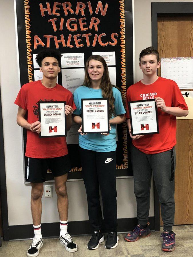 The February Athletes of the Month, junior Brandon Anthony, freshman Presli Karnes, and junior Tyler Dunfee.