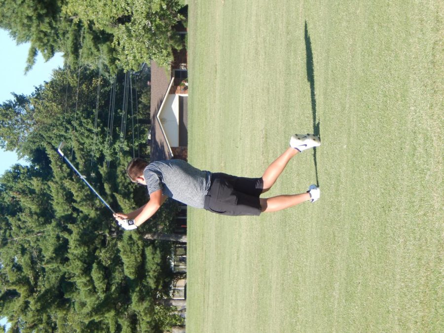 Josh Green (12) swings at hole 3.