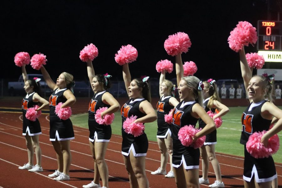 The cheerleaders raise their pom poms to support the Tigers.