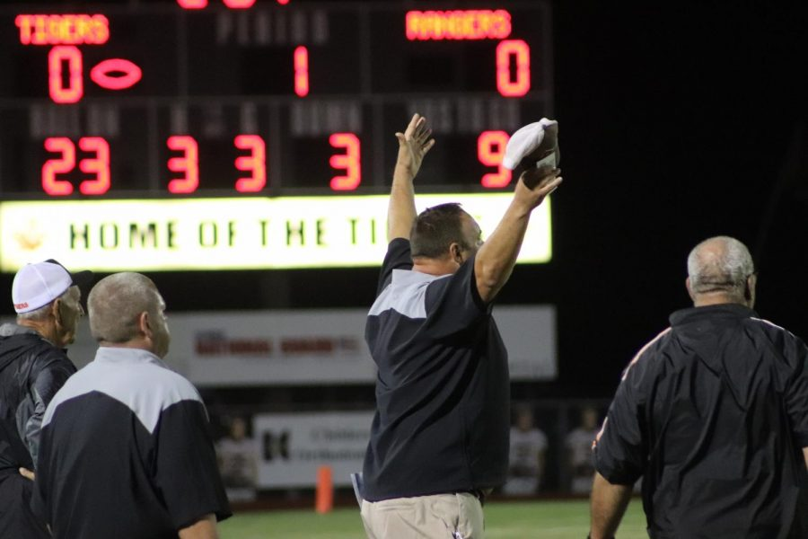 Coach Karnes gets angry after a flag was called on the play.