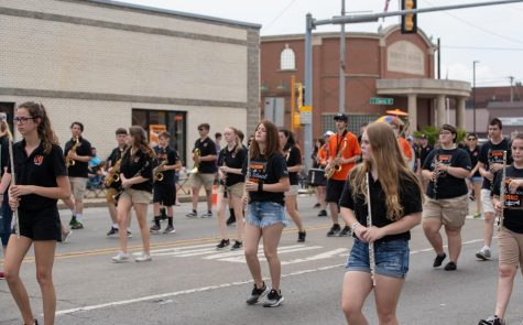 The band marching during the Herrin Fest parade.