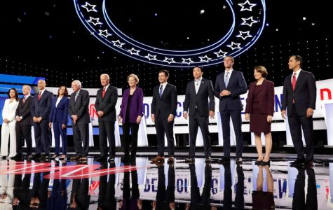 The 12 Democratic candidates line up before the debate