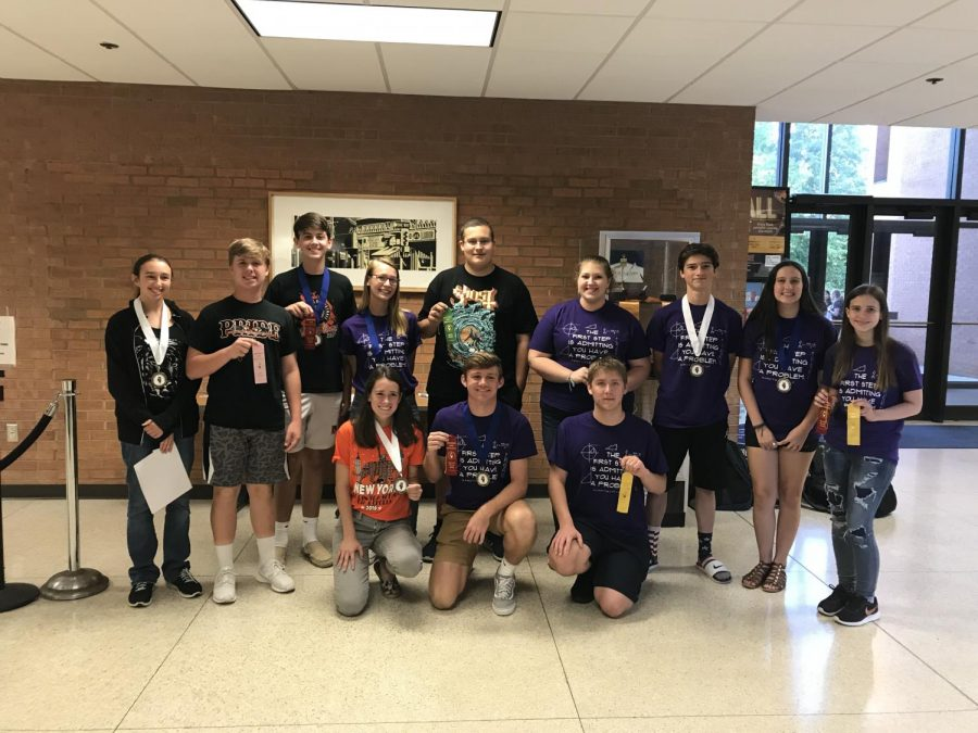 The math team proudly showcases its awards at round one at SWIC.