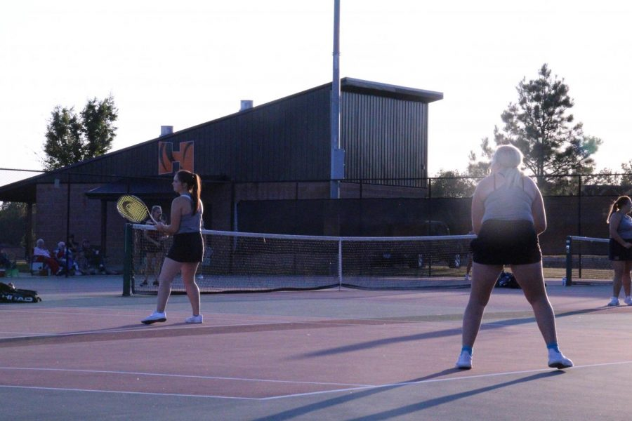 Mackenzie+Grist+%2812%29+and+Miranda+Jordan+%2812%29+ready+themselves+for+their+second+to+last+doubles+match+ever+to+begin+on+October+8th.+