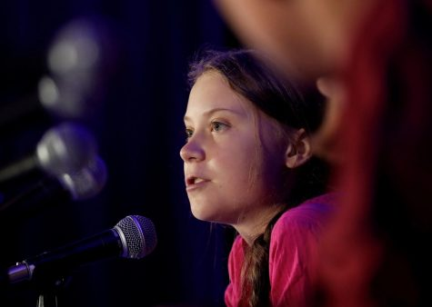 Child activist, Greta Thunberg gives a speech.
