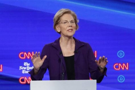 Elizabeth Warren explaining a point she made during the debate