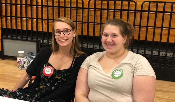 Kelsey King (11) and Christian Yoast (11) donated and worked at the blood drive.
