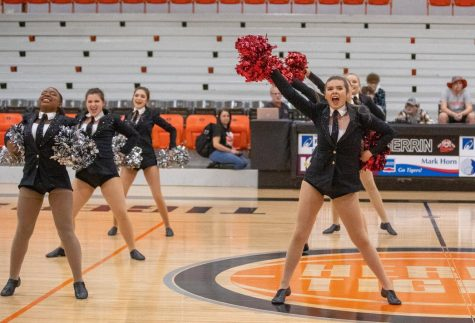 The dancers form separate lines while performing their Pom routine at the third annual Herrin Regional Contest.