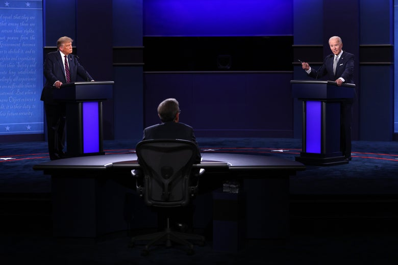 Donald Trump and Joe Biden keep a safe distance while on the debate stage.